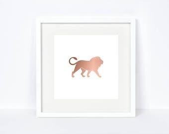 Rose Gold Foil Safari Animals Lion Printable - Instant Download - Rose Gold Foil Print - Rose Gold Lion Print - Safari Animals - Rose Gold