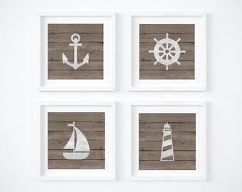 Baby Room Nautical Decor - Bedroom Nautical Wall Art - Digital Print - Sailboat Printable - Anchor - Rustic Wall Decor - Nursery Decor