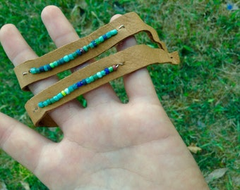 glass bead leather bracelet turquoise native american indie cuff
