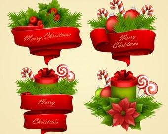 Christmas clipart. Christmas banners, ribbons, twig clip art. Vector graphic.