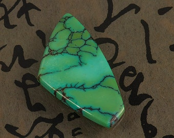 Spiderweb / turquoise / green / freeform / cabochon / natural untreated / pendant or ring / gemstone