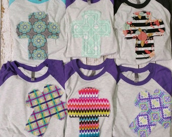 Cross raglan t shirts Appliqued fabric cross tee shirt