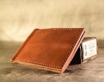 Leather money clip wallet, slim wallet, men's minimalist wallet, front pocket wallet
