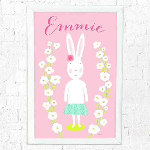 Personalized whimsical bunny art print for girls, custom art for girls, custom baby girl gift, girl's decor, cute bunny, cute rabbit