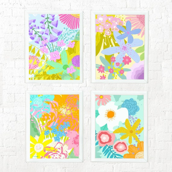 Set of 4 abstract floral prints, girl's nursery wall, kid's wall decor, children's room art, nursery decor, art for kid's rooms, pink, aqua