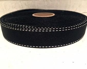 """1"""" (24mm) white stitch edge black grosgrain ribbon"""