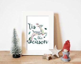 Tis the Season Reindeer Holiday Wall Art Printable for your Home Decor