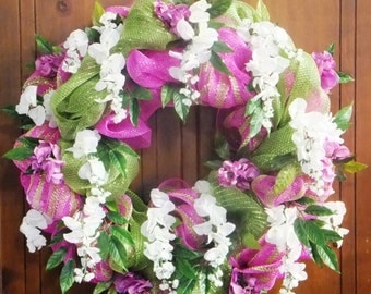 Spring/Summer Wreath with Pink and Green Deco Mesh with White and Dark Pink Wisteria -Deco Mesh Wreath