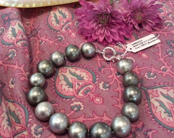 Large Silver Tahitian Pearl Bracelet with Clasp #3313