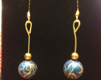 The Blue and Gold Cloisonné Earrings
