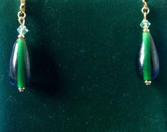 Let's Get Glamorous Green Glass Dangle Earrings