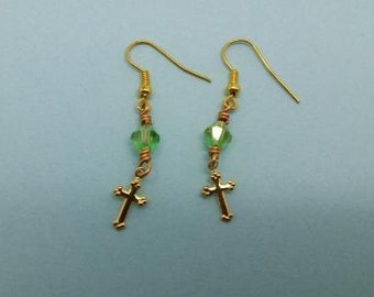 Gold Cross Earrings with Green Crystal beads