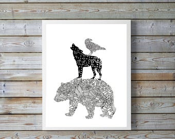 Forest art,Bear,Wolf, Eagle, Canadian,wildlife geometric,black and white,modern,gift for husband,father, A4, printable, digital download
