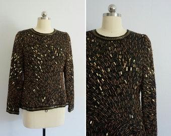 1980s black beaded top | vintage 80s top | vintage beaded top