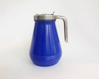 Vintage Syrup Dispenser Rare Collectible Cobalt Blue Glass by Federal Tool Corporation