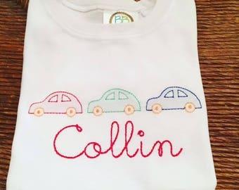 Boy's shadow embroidery car shirt