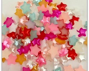 50 or 100 Puffy  pearl stars random mix flatback, resin 6mm crafts jewelry & beading girl hair bow phone nail art cabochon mini holiday star