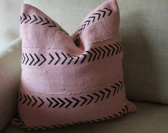 Light Pink Mudcloth Pillow Cover