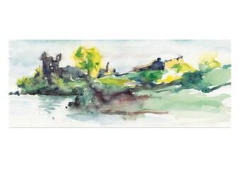 Hazy Day Loch Ness Scotland Original Watercolor Painting