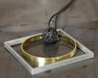Brass and aluminium handmade Necklaces with Vesuvio's Lava stone