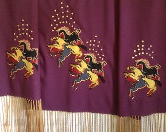 Native American Regalia *Nakoda Made* Pow Wow Traditional SPIRIT HORSES Appliqued Dance Shawl
