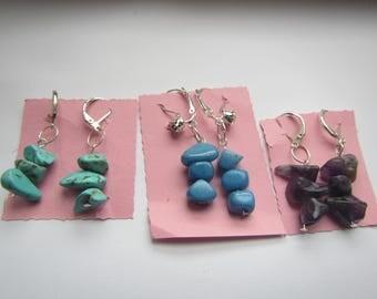 stack semi precious stones earrings