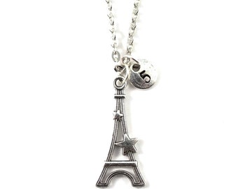 personnalized charm necklace, initial necklace, EIFFEL TOWER necklace, personnalized jewel, charm neckalce, initial jewelry