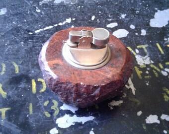 VINTAGE TABLE LIGHTER Amber glazed stone