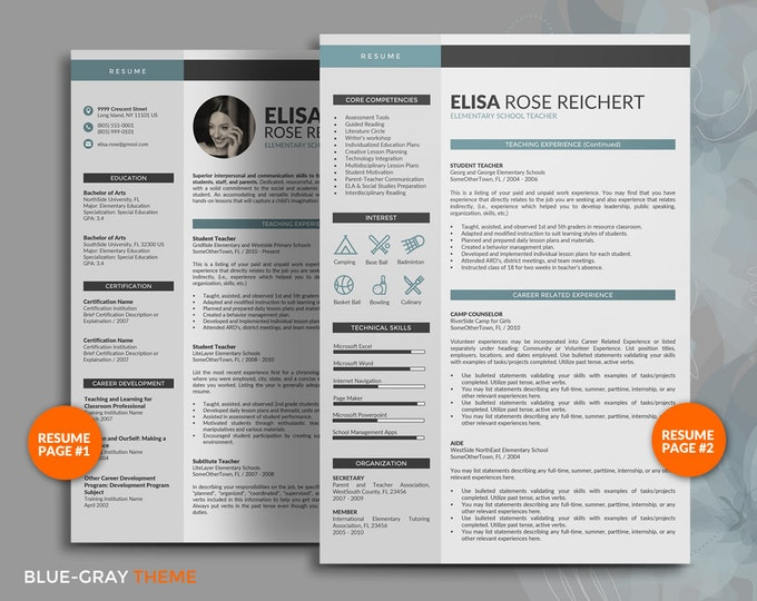 Resume Template / CV Template for Teacher & Professional, 4 Pages Creative Resume Design with free Cover Letter and Reference Letter