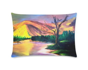"Pillow Case 20""x 20"" +6 other sizes -Sun Rock Lake- FREE Shipping."