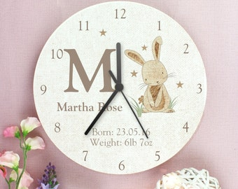 Childrens Personalised Bunny Rabbit Wooden Clock - Add Name and Message
