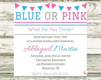 Instant Download, Custom Gender Reveal Party Invitation, Printable Invitation, Gender Reveal, PDF File, Boy or Girl, Party Invitation