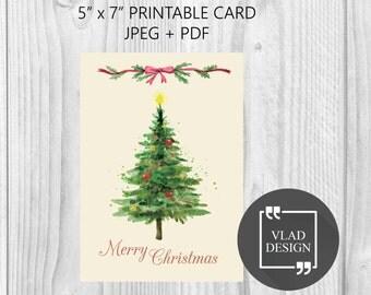 5''x 7'' Digital Watercolor Christmas card Merry Christmas card with Christmas tree DIY Printable cards New year card Greetings card Winter