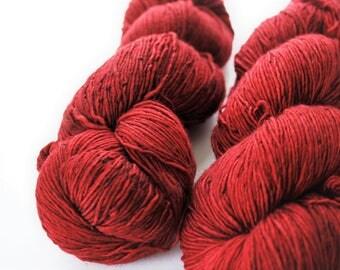 Malabrigo Red Merino Sock Yarn Skein, Merino Wool, Vivid Cherry Red ** Mechita: Cereza 033