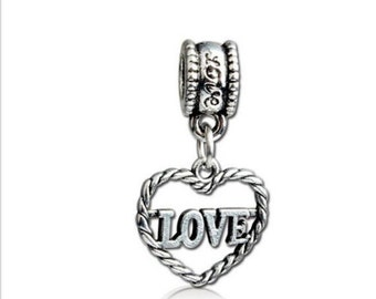 European Big Hole Silver Heart LOVE Charm Bead