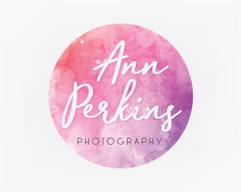 Premade Logo Design Graphic Design Branding Blog Design Etsy Shop Logo Pink Purple Watercolor Circle Business Logo