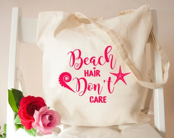 Personalised Beach Hair Don't Care Holiday Tote Bag - Holiday Essentials Beach Bag - Handbag and Canvas Bags - Shopping Tote Bag - Beach Bag