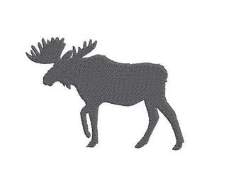 6 sizes - Moose Embroidery Design, Moose Silhouette Embroidery Design, Animal Embroidery, Instant Download, Machine Embroidery Design