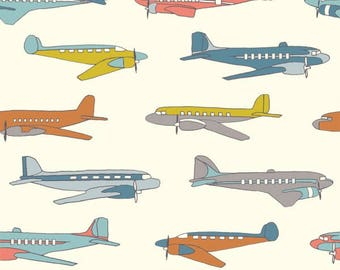 Birch Fabric - Airplane Fabric - Birch Transportation Fabric - Airplane cotton woven fabric - Airplane Poplin Fabric - Fabric by the yard