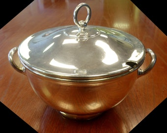 Silver Tureen Soup with Lid - British Army Military - Vintage