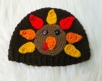 Thanksgiving Turkey Hat- Crochet beanie, first thanksgiving, red orange yellow Fall Autumn knit, photo prop, baby infant toddler shower gift