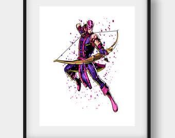 Hawkeye Art 2, Hawkeye Printable, Hawkeye Print, Hawkeye Wall Art, Hawkeye  Wall Decor, Hawkeye Watercolor, Hawkeye  Poster, Hawkeye Nursery