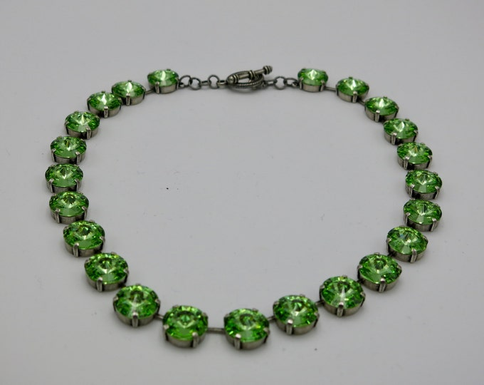 Green peridot Swarovski crystal rivoli collar necklace. Layer for a larger bold dramatic look.