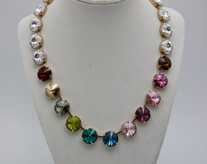 Color stories, rainbow Swarovski crystal rivoli collar necklace guaranteed to get noticed and turn heads!