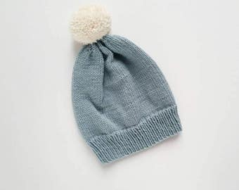 Merino wool pompom beanie for toddler (size M) ready to ship