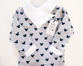 Warm reversible cardigan /  fall vest / baby and children / mickey mouse