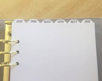 A5 Top Tab Monthly Planner Dividers with Printed Tabs for Filofax, Kikki K, Debden; A5 6 Ring Binders/Planners/Diaries - January to December
