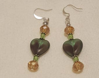 Green and brown Heart earrings