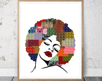 African Art, African American wall Art, African Woman, Woman Silhouette Printable Art, Black Woman Print, African Decor, Black Woman