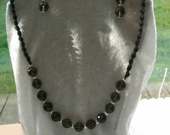 Handmade faceted smokey quartz necklace